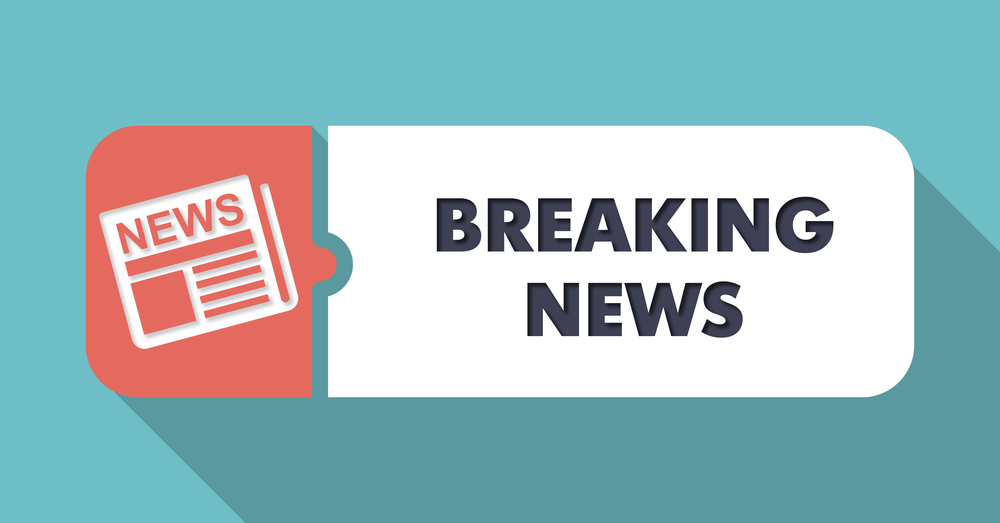Breaking News Concept in Flat Design with Long Shadows on Blue Background.-1