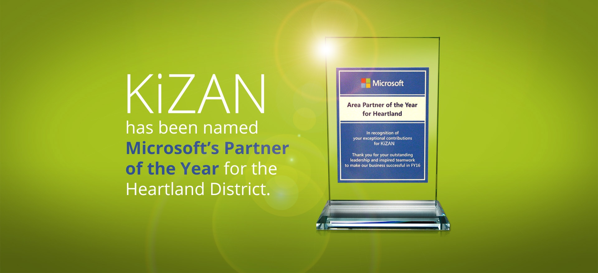 KiZAN wins Microsoft Partner of the Year Award for the Heartland